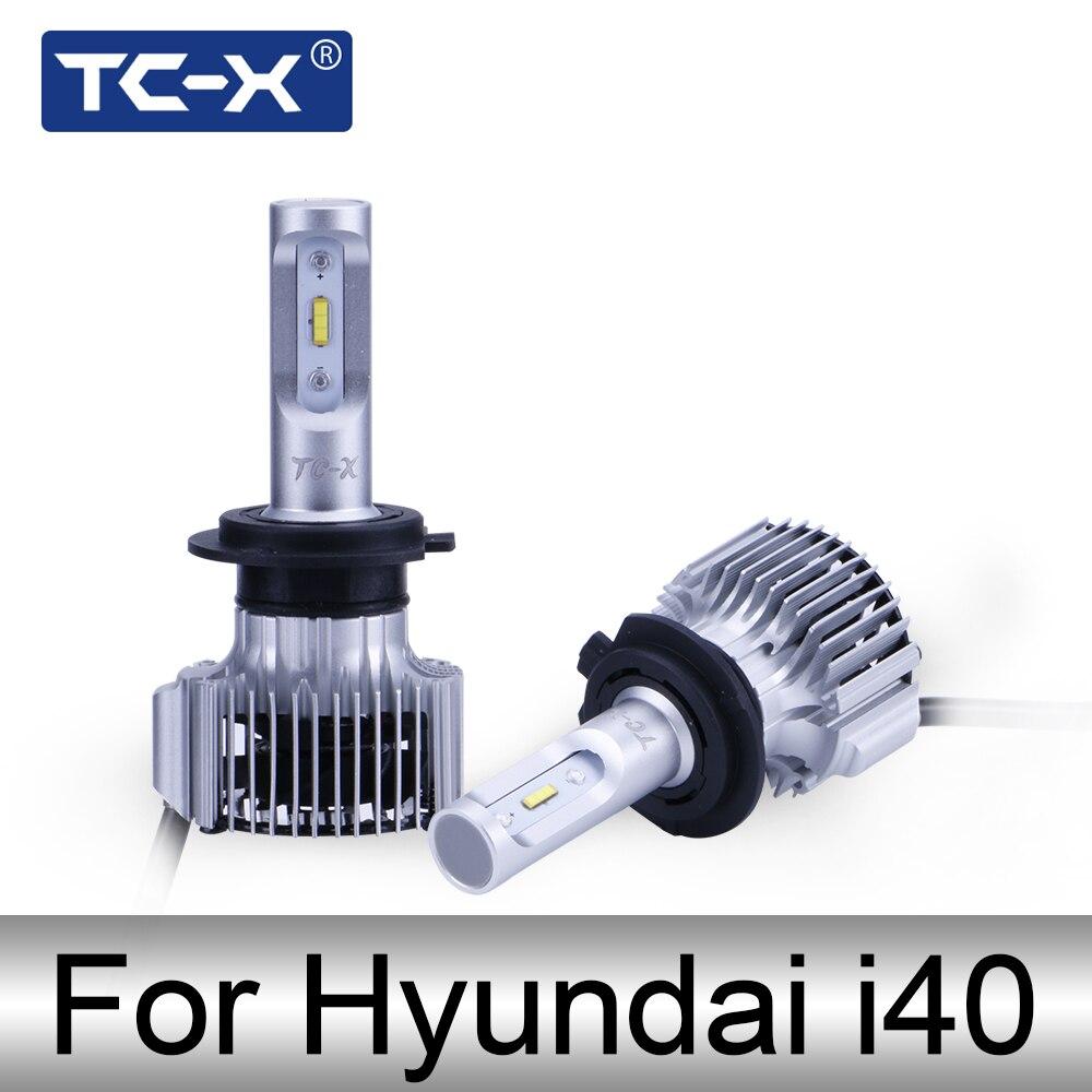 TC-X para Hyundai i40 VF/CW H7 LED de larga distancia/cerca compacto linterna del coche 6000 K 60 W/Pair super brillante 6000LM Auto faros