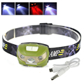 XPE + 2LED Headlamp USB Outdoor Headlight Waterproof Head Lamp Lantern White Red ( 3mode 2mode) +Usb Cable Built in battery
