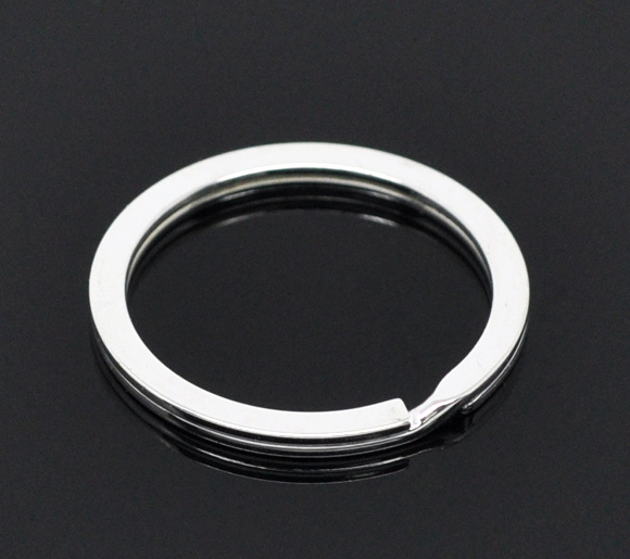 Alloy Key Chains Key Rings Round Silver Plated 25mm(1