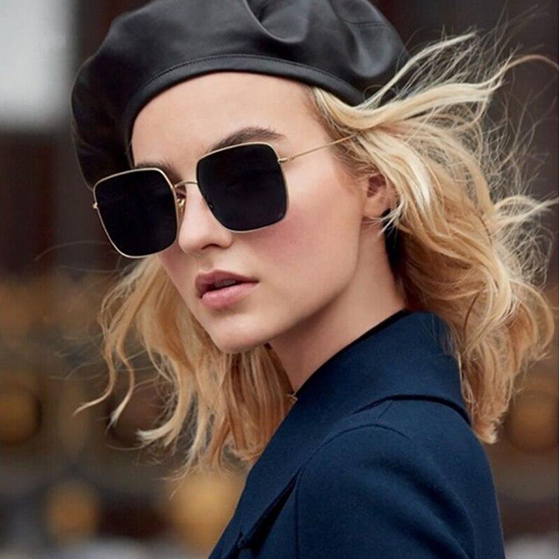 Big Frame Black Shades Oversized Sunglasses Women Square Brand Designer Vintage Fashion Sun Glasses Female Oculos De Sol
