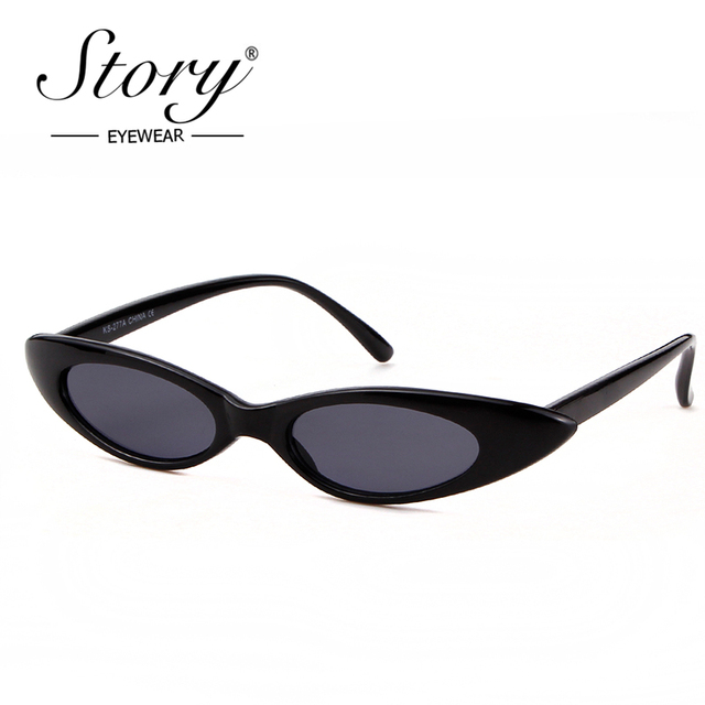 be71627418 STORY 2018 Summer Style Cat Eye Sunglasses Retro Skinny Frame Yellow Red  Lens Shade Vintage Cateye