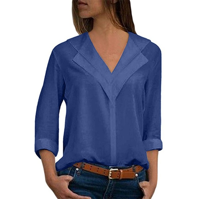 Women blouses solid long sleeve girl shirts Fashion  Chiffon Solid Shirt Office Ladies Plain Roll Sleeve lady Blouse Tops