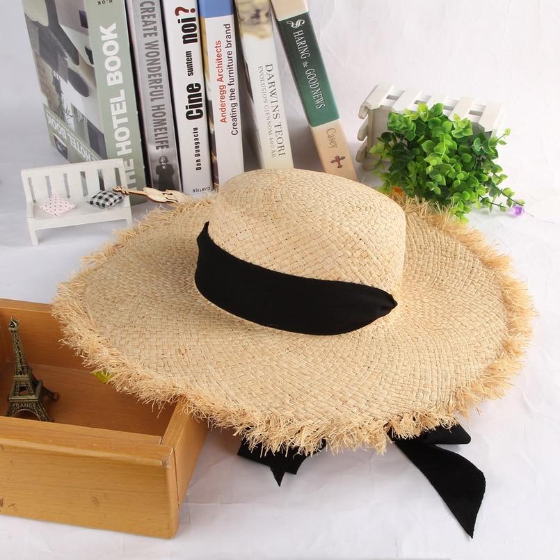 GEMVIE Handmade Weave Raffia Straw Hat For Women Wide Brim Floppy Sun Hat Summer Hats Lady Beach Cap With Chin Strap Fashionable