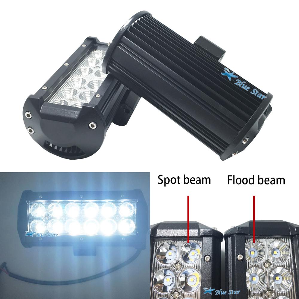 Prix pour 2 pcs 36 W OFF ROAD LED LIGHT bar 4X4 36 W LED Travail lumière 12 V 24 V Spot Flood POUR CAMION BATEAU SUV voiture ATV 4WD Spot/Inondation