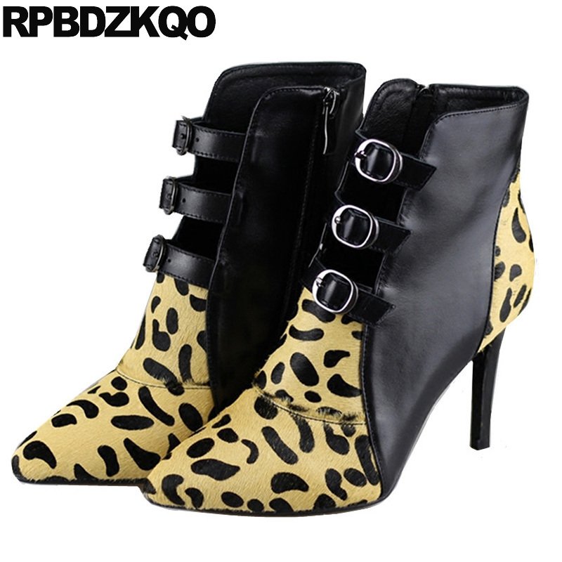 все цены на Fall Booties Luxury Brand Shoes Women 10 Fashion Sandals Boots Sexy Ankle 2017 Pointed Toe Leopard Print Genuine Leather High