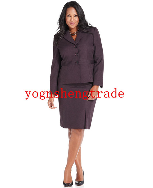 82e8fe067f US $128.0 |Plus Size Jacket Three Button Blazer Inverted Pleat Pencil Skirt  Custom Made Purple Women Suit Notched Lapels No Pocket HS7958-in Skirt ...