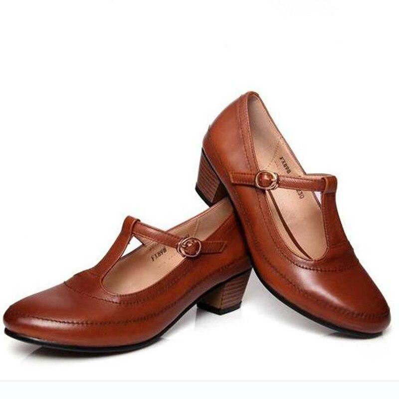 Frühling Neue retro braun, schwarz Echtes Leder high heels Plus größe 41 43 frauen Arbeiten schuhe Mary Jane schuhe pumpen Kostenloser versand