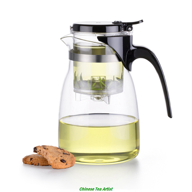 Family use large heat resistant glass tea serving pitcher with infuser 900ml coffee tea - Heat resistant glass pitcher ...