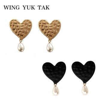 8e8ebf1e630f Ala yuk tak Vintage corazón aretes para las mujeres lindo perla simulada de  joyería de moda