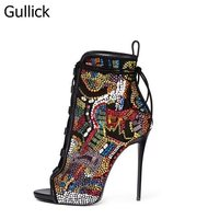 Горячие продажи Для женщин смешанные Цвет хрустальные украшения открытый носок Сандалии на шнуровке летняя модная обувь на высоком тонкий
