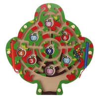 Apple Tree Wooden Magnetic Pen Maze Game Labyrinth Kids Learning Education Toys W30