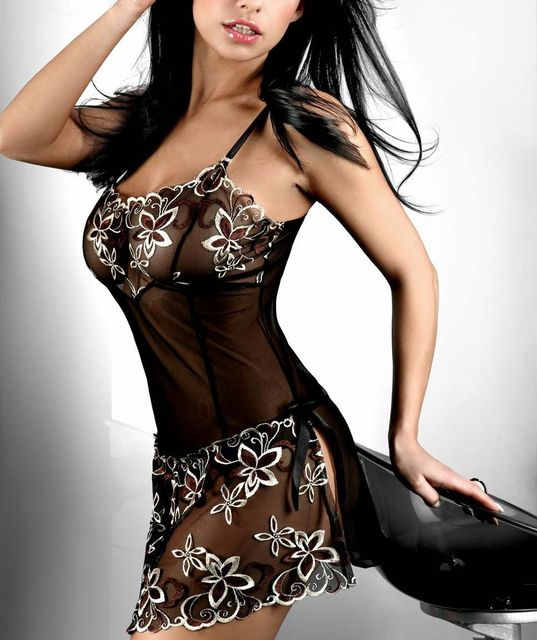 Sexy Lingerie Sheer Black Babydoll /w Lace Embroiders Free Shipping Valentine M/XL/XXL Free Shipping @FE6206