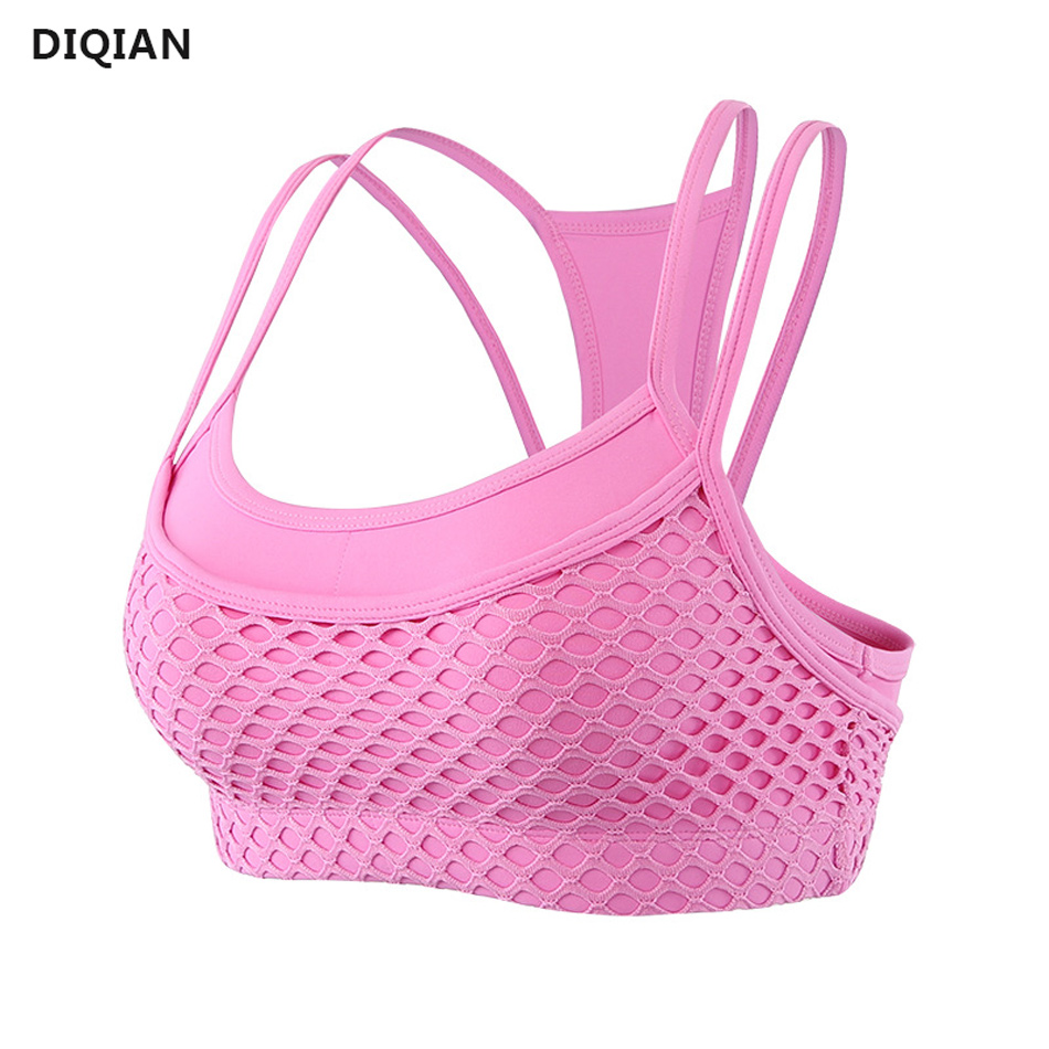 Women Pink Sports Bra Mesh Cropped Top Strap Yoga Top Nylon Push Up Running Bras Double Layer Athletic Fitness Vest Gym Clothing