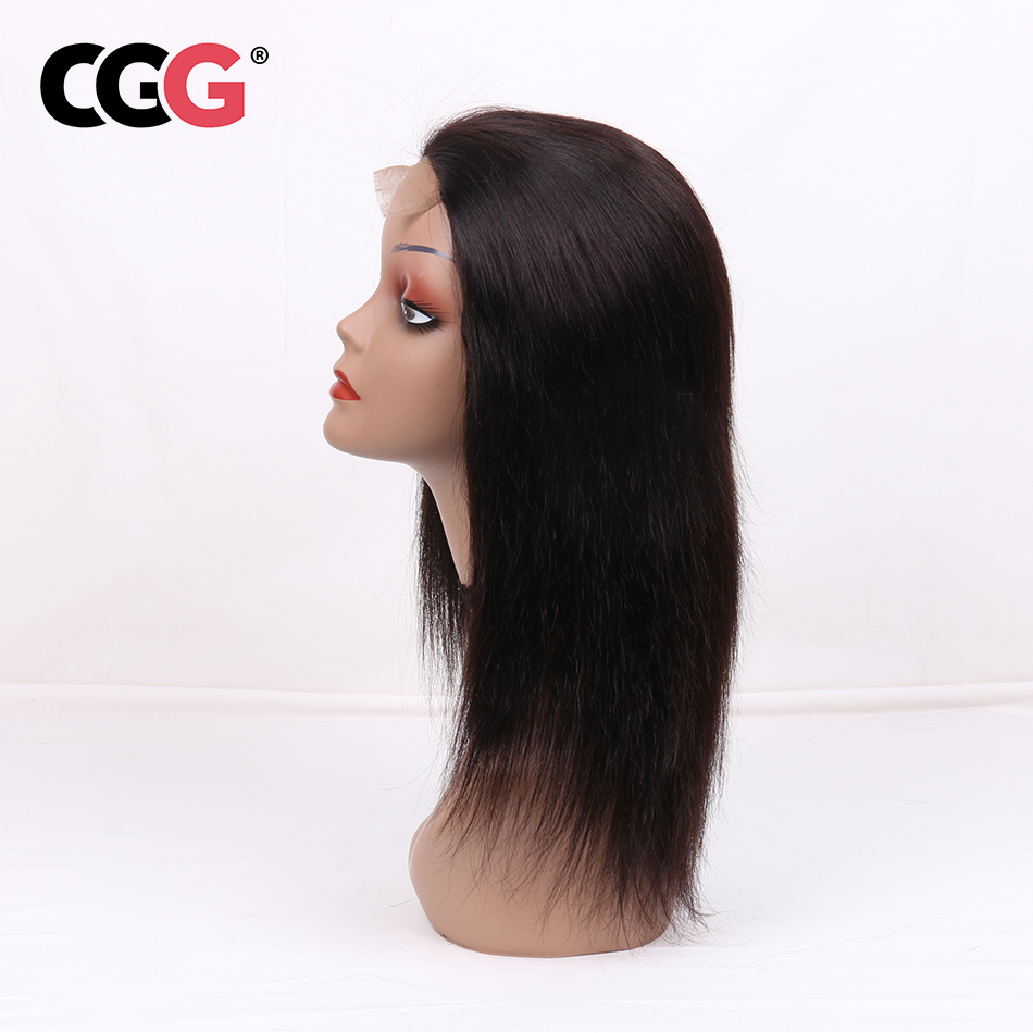 CGG Lace Frontal Straight Human Hair Wigs With Baby Hair Non Remy Human Peruvian Hair For