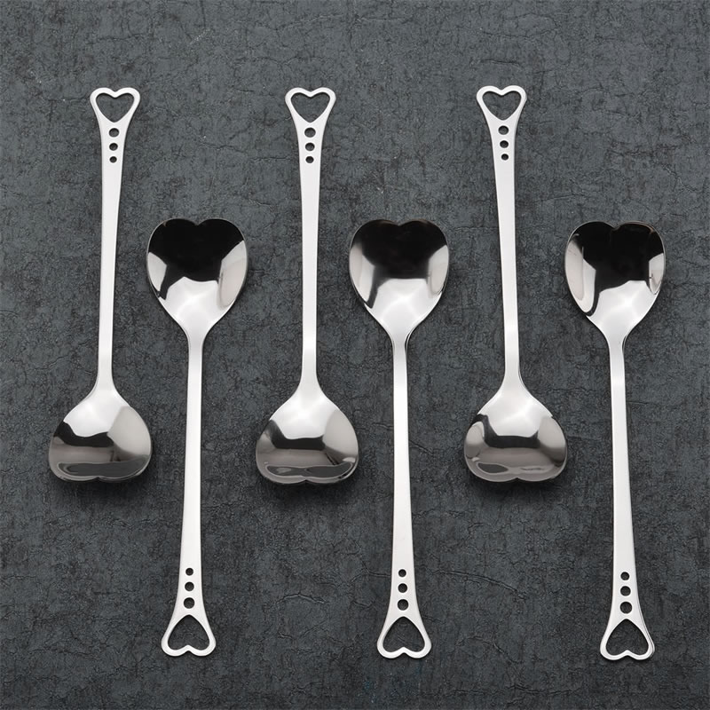 Stainless Steel Spoon Portable Metal Coffee Teaspoon Creative Love Heart Shaped Wedding Party Gift Dinnerware