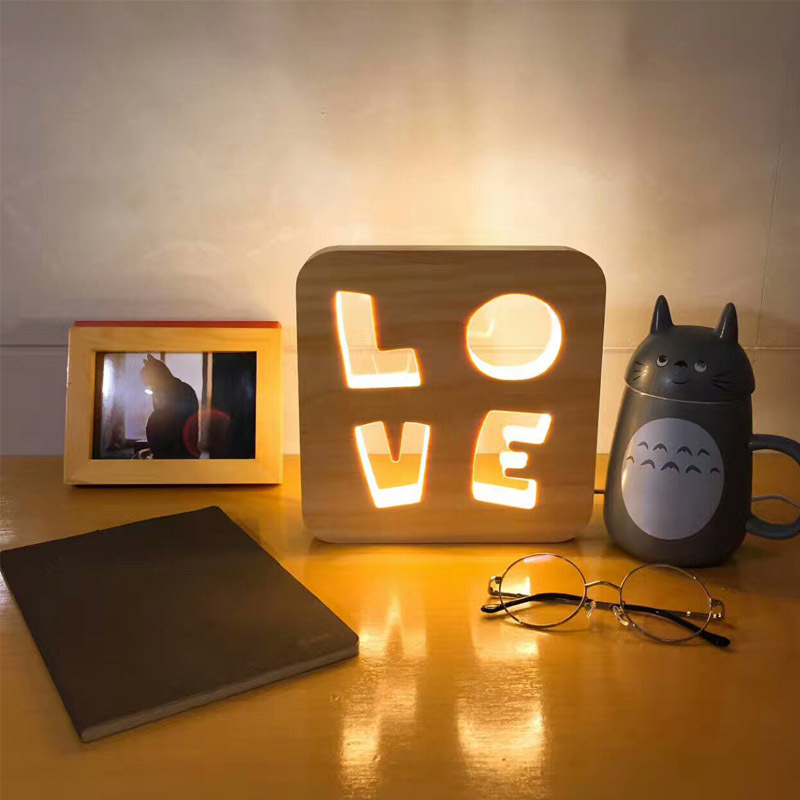 Simple Wooden Carved Hollow Frames Night Light LED Desktop Decorative Lamps Gifts Atmosphere Lights USB Table Lamp Free Shipping wood wooden decorative desktop clock green led light display 4 x aa