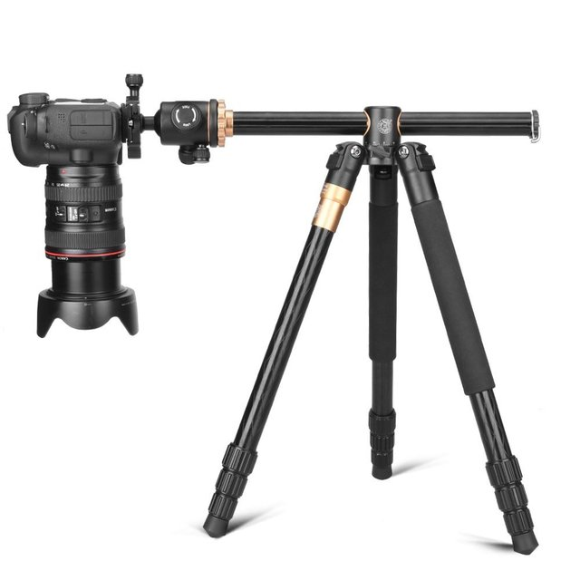 Q999H Horizontal Arm Professional Camera Tripod Portable Travel Tripod Stand with Ball Head For