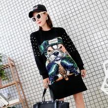 Hip Hop Loose Girls Dresses with Dog Print