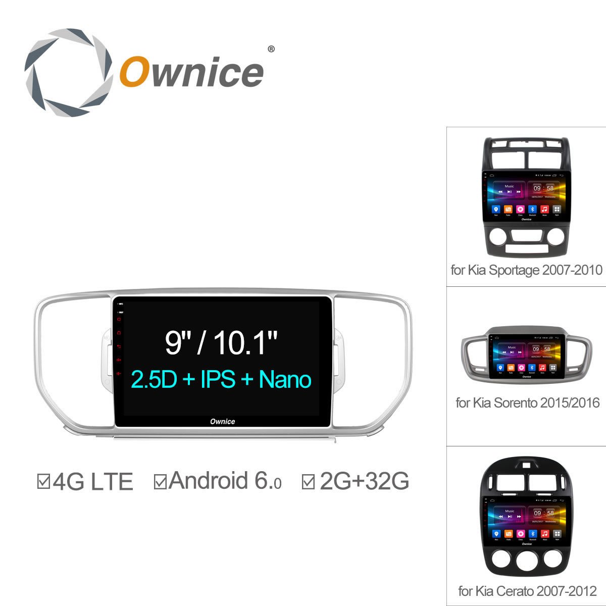 Ownice C500+ Android 6.0 8 Core For KIA Sportage KX5 Cerato Sorento K5 2006 2015 2016 Car Radio Navi GPS player 4G LTE 32GB DVD