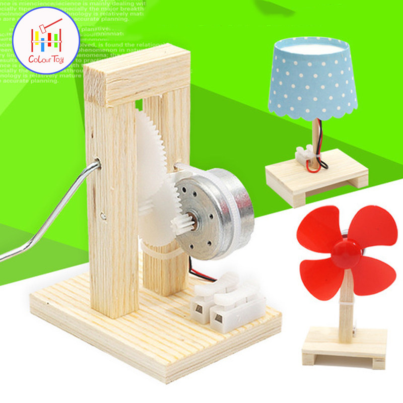 1232f9ee478 Geradores de Energia Pequena Lâmpada Manivela da HASTE Do Motor Inteligente  Enigma DIY Brinquedos Robô Kit