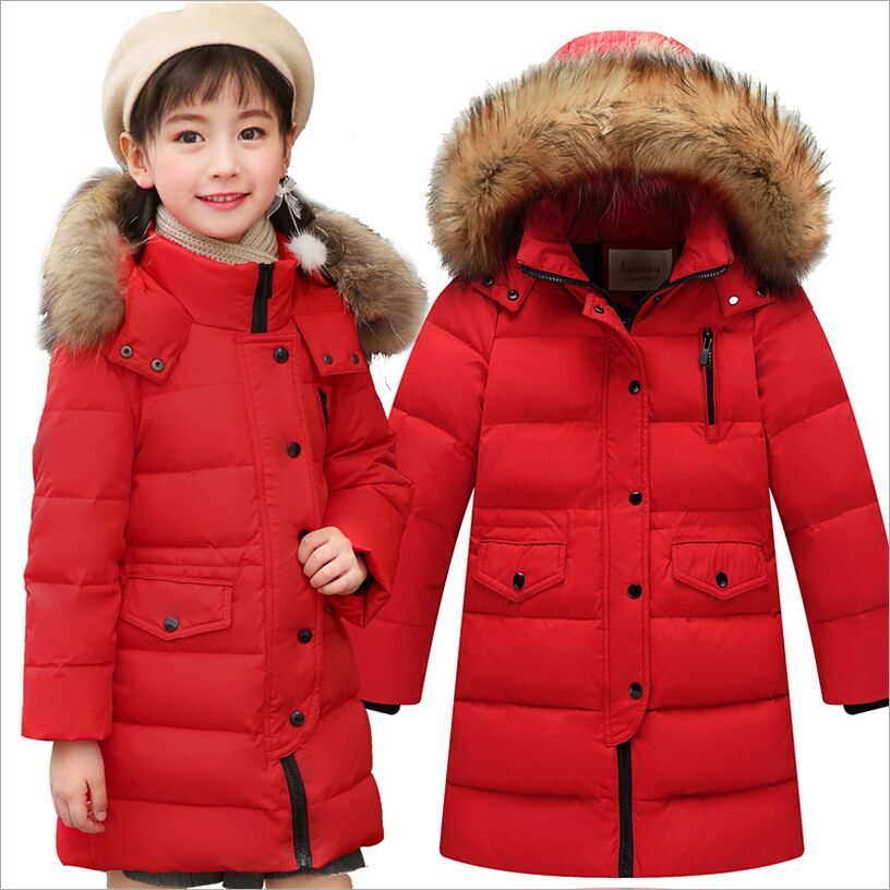 Children Down Jacket 2017 New Boys and Girls Long  Thick Warm Girls Winter Coat Big Fur Collar Down & Parkas Fit 3-12Y 2017 new baby girls boys winter coats jacket children down outerwear warm thick outdoor kids fur collar snow proof coat parkas
