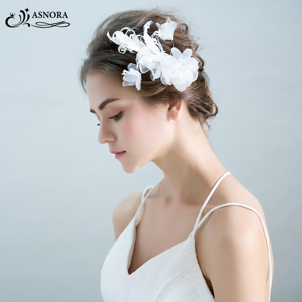 ASNORA Handmade-Flower Hair-Accessories Pearls Wedding-Hairwear Bridal-Hairgrips Brides