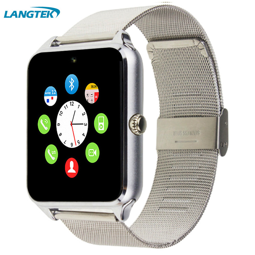 Langtek Z80 Smart Watch Android Watch With Push Message Support SIM SD Card Mp3 Fashion Bluetooth Wearable Devices For Apple IOS new arrive gt08 smart watch bluetooth sim card slot push message bluetooth connectivity nfc for iphone android phoones