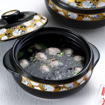 Casserole pot saucer heat resistant kitchen saucer pottery soup porridge noodle rice stew ceramic hot pot saucepan cooking