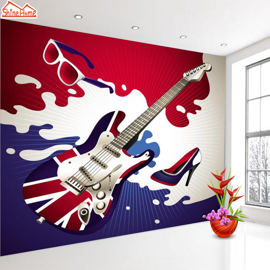 ShineHome-Custom Guitar Photo Wallpapers 3D Contact Paper 3d Modern Living Room Wall Murals Washable Wallpaper Boys Children summer girls boys clothes kids set velvet hello kitty cartoon t shirt hoodies pant twinset long sleeve velour children clothing