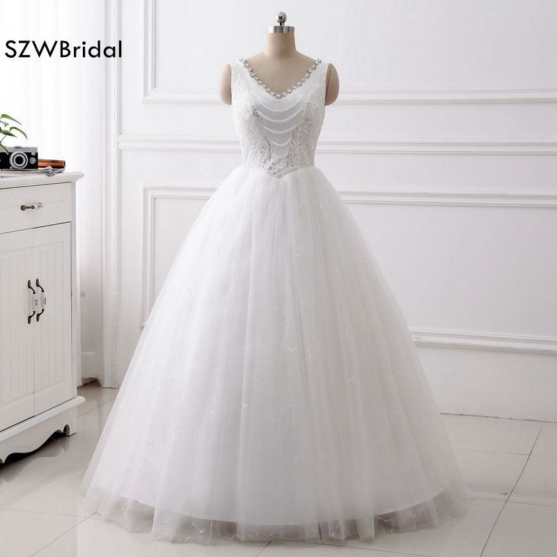 New Arrival V Neck Ball gown Wedding dresses 2018 Sequine Lace Wedding gown brautkleid Plus size Vestido de noiva