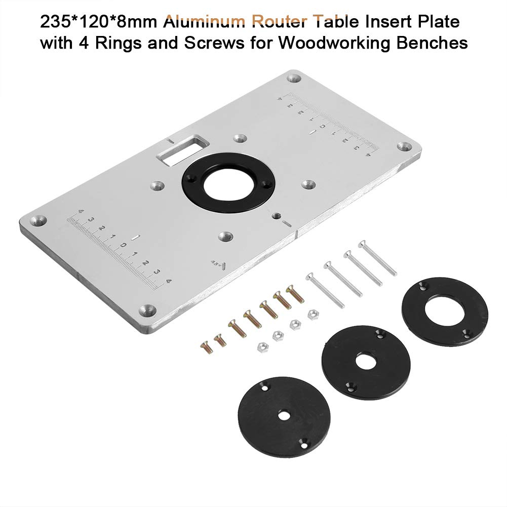 Aluminum Router Table Insert Plate With Rings And Screws For Woodworking Benches JDH99