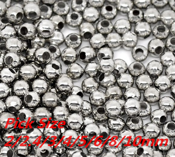 Silver Tone Smooth Ball Spacer Beads Pick Size 2/2.4/3/4/5/6/8/10mm in Dia. Jewelry Making Findings Wholesale