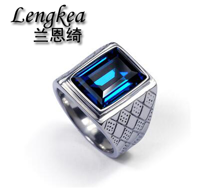 Free shipping men square blue crystal ring original design ring boys cool fashion personality stainless steel
