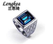 Бесплатная доставка, мужчины Square Blue Crystal кольцо оригинальный дизайн кольца Мальчики Прохладный Мода Личность кольцо из нержавеющей стали аксессуары