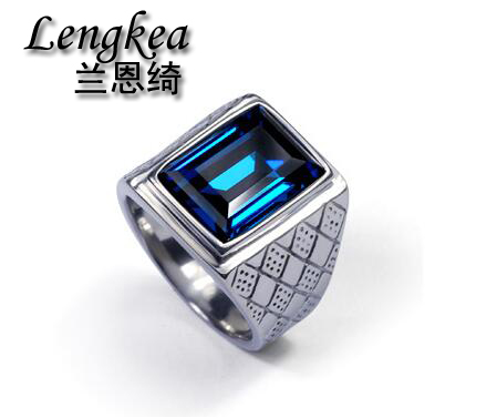 Men rings,men square blue crystal ring original design ring boys cool fashion personality stainless steel ring accessories
