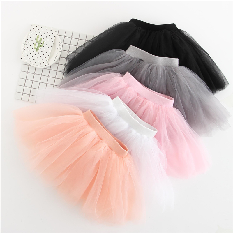 New Baby Girls Tutu Skirts Kids Elastic Waist Pettiskirt Girl Princess Tulle Skirt Colorful Ball Gown Skirts Children Clothing palm leaf print elastic waist skirt