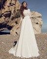 Dreagel New Arrival Gorgeous Appliques Scoop Neckline A-line Wedding Dress 2017 Exquisite Pleated Bridal Dresses Robe de Mariage