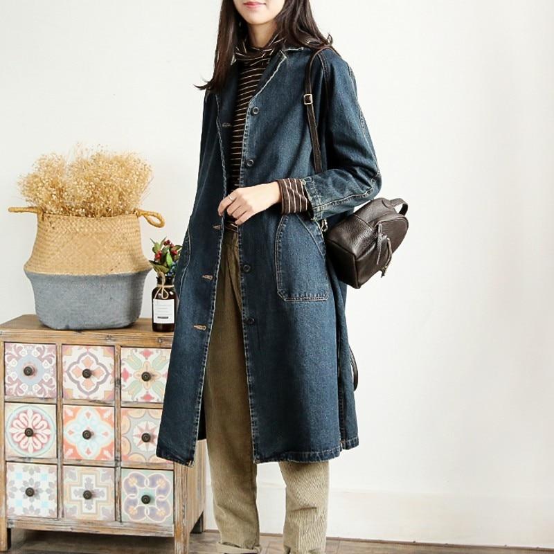 Femmes Tranchée Loose Manches Long Femelle De Casual Outwear 1 Denim Nouvelles Harajuku Vintage Mode Streetwear Automne Manteau Fit Pleine 56z477q