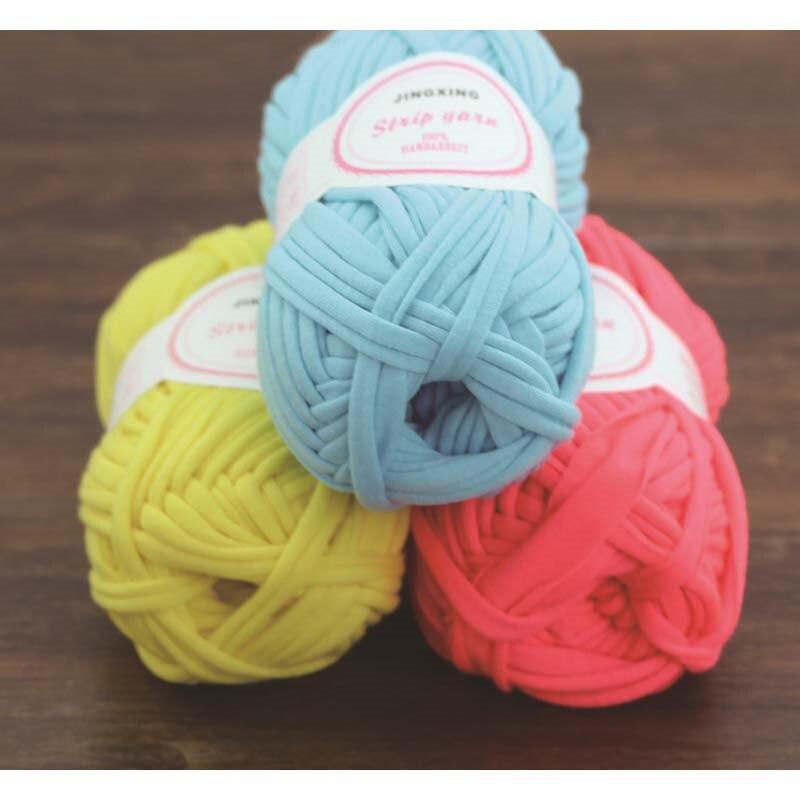 도매 뜨개질 테이프 원사 다채로운 에코 - 친화적 인 염색 손 뜨다 크로 셰 뜨개질 스레드 DIY 담요 바구니 가방 코튼 리본 원사라나