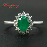 925 sterling silver with natural emerald ring Precious jewelry Fine jewelry 5x7mm Diana money