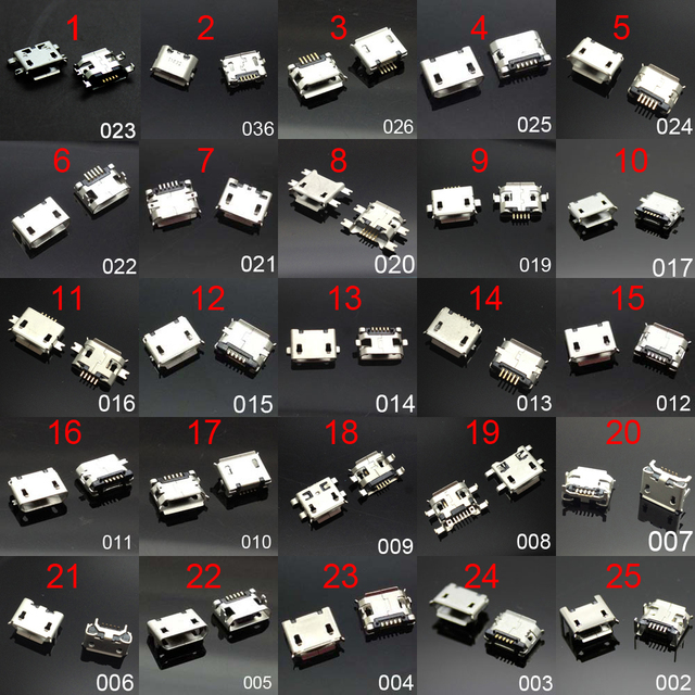 25 models Micro usb connector Very common charging port for Samsung/Moto/SONY/HTC/ZTE/Huawei/Xiaomi/Lenovo/... mobile,tablet GPS