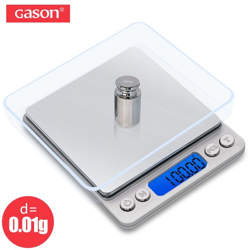GASON Z1s Bilancia Mini Cucina In Acciaio Inox di Precisione Tascabile Digitale Gioielli Bilancia Elettronica Peso Grammi di Oro (500g x 0.01g)