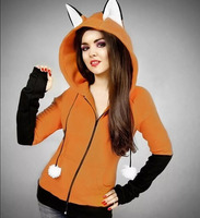 Adult Women Autumn Fox Hoodie With Ear Costume Orange Hooded Cotton Coat Ladies Beast Cosplay Party Anime Outfit For Girls XXL