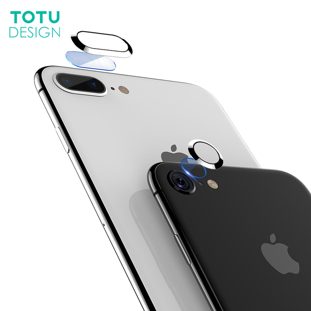 finest selection 7dedf 4133c US $3.99 20% OFF|TOTU Clear Camera Lens Screen Protector For iPhone 8 7  Plus Tempered Glass + Metal Rear Camera Lens Protective Ring For iPhone  8-in ...