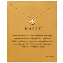 Simple Smiley Face Necklace Women Happy Emoji Pendant Clavicle Chain Statement Choker Necklaces Valentine's Day Gift Card цена