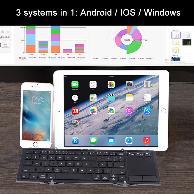 Portable Touchpad Folding Keyboard Bluetooth Wireless For iPad Tablet Keyboard Rechargeable Twice Fold Keypad For IOS Android