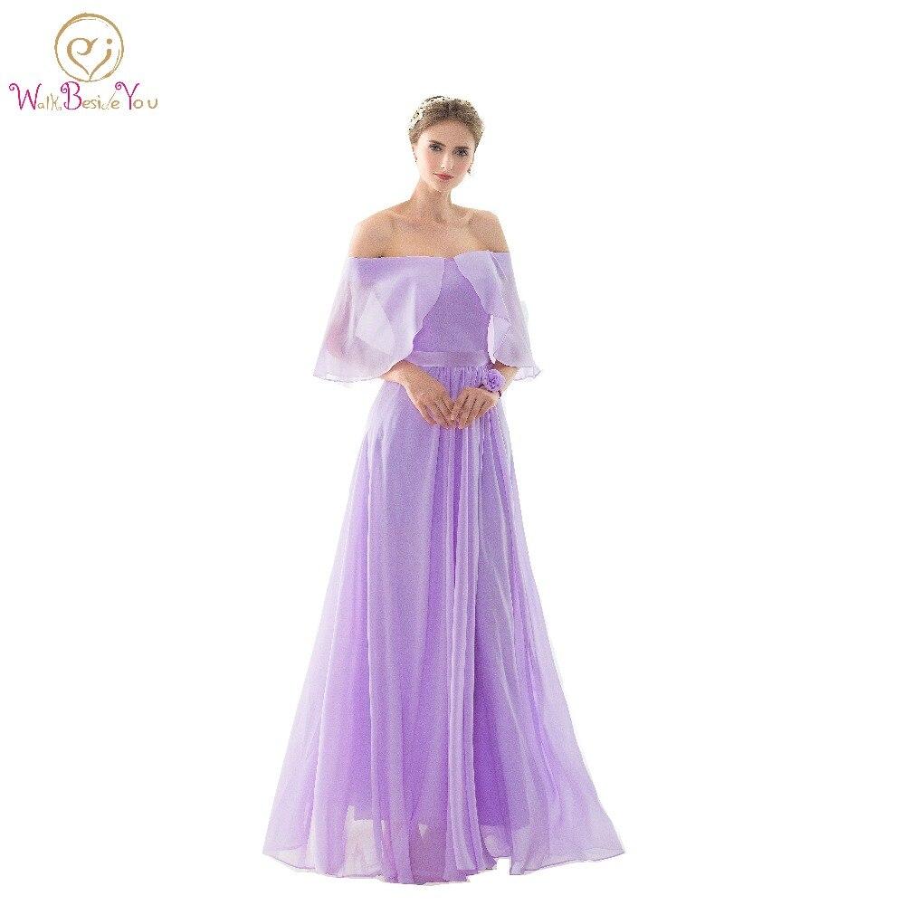 100% images réelles robes de demoiselle d'honneur vestido dama longue lilas hors de l'épaule en mousseline de soie robe de demoiselle d'honneur robes de bal