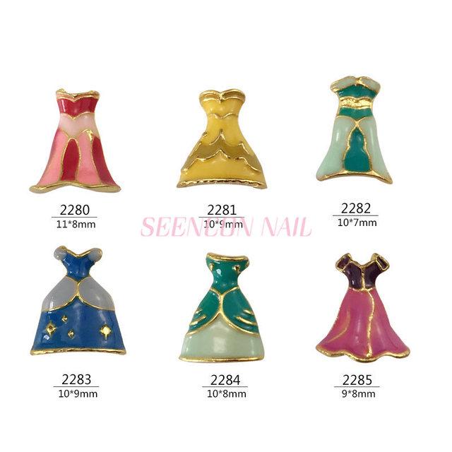 HOT 20pcs 3D alloy Nail art Decoration Princess dress skirt series nail Accessories Japanese retro Manicure Charms 32834832026