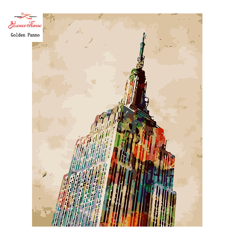 Gold Panno,Needlework,Embroidery,DIY DMC Painting Cross Stitch,14ct Skyscrapers Cross Stitch,Sets For Embroidery,Wall dec