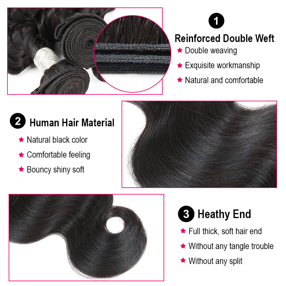Joedir Indian Human Hair Bundles Med Closure Non Remy Body Wave 3 - Skønhed forsyning - Foto 3